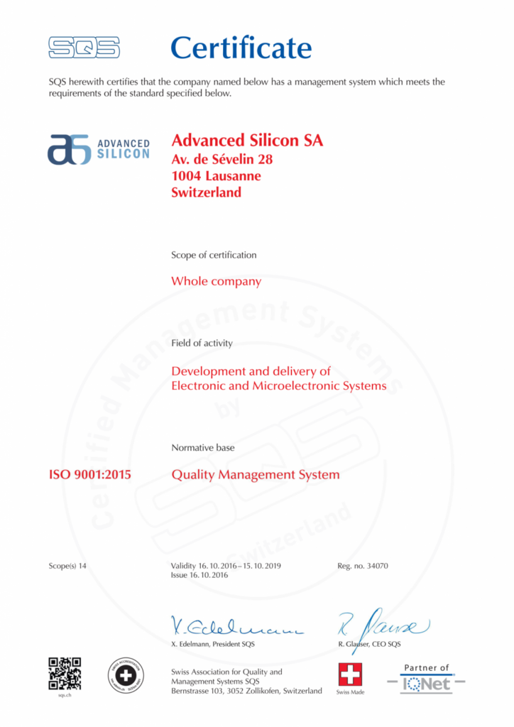 Advanced Silicon quality system ISO 9001:2015