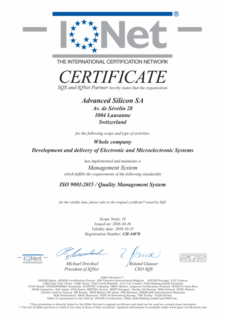 Advanced Silicon quality system ISO9001 certification